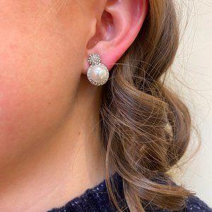 Silver Rhinestone + Pearl Studs